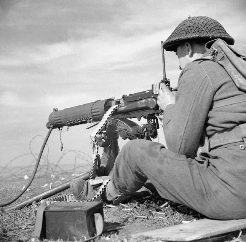 A vickers machine gun of 2 7th middlesex regiment in the anzio bridgehead  italy  8 march 1944. na12616